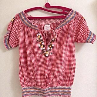 カスタネ(Kastane)のKASTANE 刺繍チェックシャツ(シャツ/ブラウス(半袖/袖なし))
