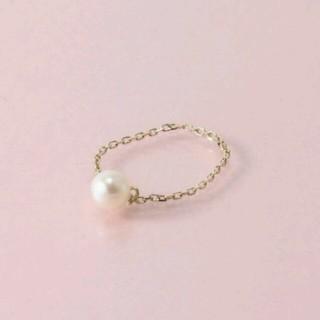 サマンサティアラ(Samantha Tiara)の【新品】10K プレゼントとして🎁 【9号】繊細チェーン パールリング(リング(指輪))