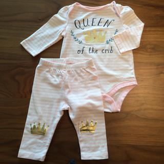 ベビーギャップ(babyGAP)の①babyGAP ボディシャツ&レギンスセット ピンク 60cm 3-6ヶ月(ロンパース)