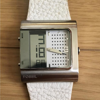 フォッシル(FOSSIL)の値下げ 腕時計 本革 ベルト ホワイト 時計 レア 箱付き アナログ デジタル(腕時計(アナログ))