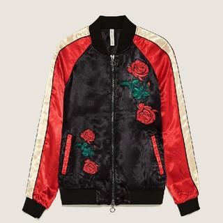 ザラ(ZARA)のZARA 今季 薔薇刺繍 ボンバージャケット Sサイズ(スカジャン)