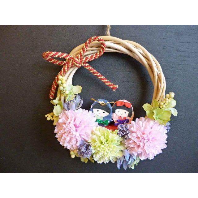 【ひな祭り】桃の節句リース ー三日月 ハンドメイドのフラワー/ガーデン(リース)の商品写真