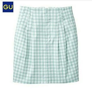 ジーユー(GU)のGU ハイウエストギンガムスカート(ひざ丈スカート)