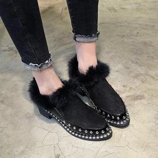 スタッズ キラキラ ビジュー ファー ブーティ ショートブーツ パンプス 革靴(ハイヒール/パンプス)