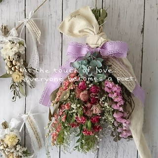 【完売☆】*Pink×Red*お花もりもり♡ドライフラワースワッグ(ドライフラワー)