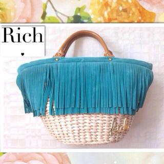 リッチ(rich)のrich♡雑誌記載フリンジかごバッグ(ハンドバッグ)