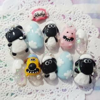 羊 仲間たち 豚 犬 レギュラーオーバル 3D ネイルチップ