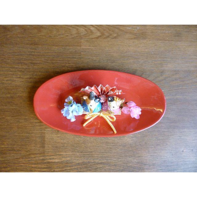 【ひな祭り】楕円器の桃の節句アレンジ ーネコ ハンドメイドのフラワー/ガーデン(その他)の商品写真