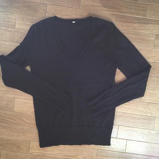 ムジルシリョウヒン(MUJI (無印良品))の無印 Muji ブラック Vネックニット(ニット/セーター)