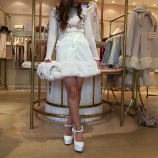 リズリサ(LIZ LISA)のLIZLISA 裾ファー台形スカート PK(ひざ丈スカート)