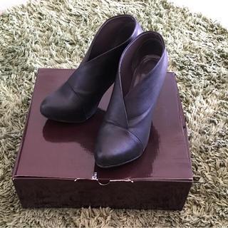 インデックス(INDEX)のINDEX アンクルブーツ 黒 23.5cm(ブーツ)