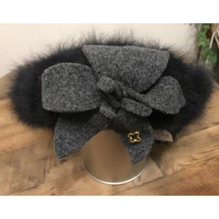 マリクレール(Marie Claire)の週末お値下げ☆マリクレール ファー帽子 ブラック レディース(ハンチング/ベレー帽)