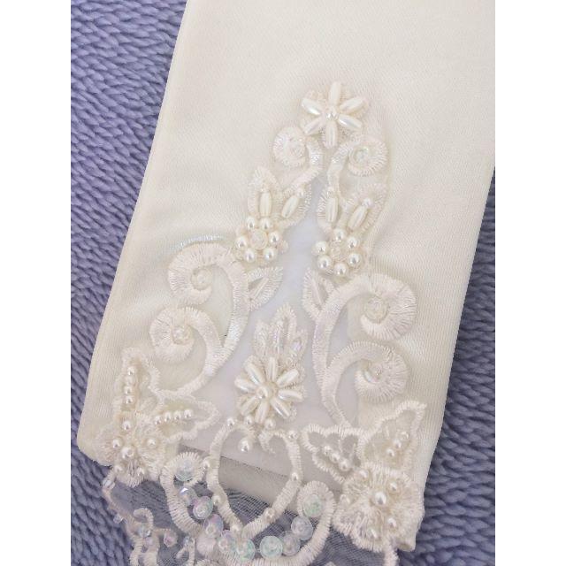 【新品、送料込】ウェディンググローブ 装飾 40㎝ アイボリー レディースのフォーマル/ドレス(ウェディングドレス)の商品写真
