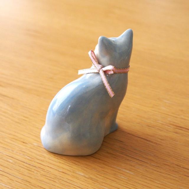 凛とした猫の置物 陶器 ハンドメイド 送料込 インテリア/住まい/日用品のインテリア小物(置物)の商品写真