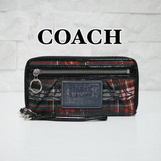 コーチ(COACH)の正規品✨COACH POPPY コーチポピー☆ チェック柄 ラウンド長財布(財布)