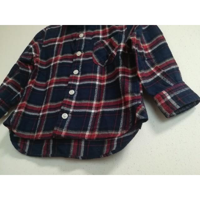 MUJI (無印良品)(ムジルシリョウヒン)の無印 90 チェックシャツ ネルシャツ ネイビー キッズ/ベビー/マタニティのキッズ服 女の子用(90cm~)(ブラウス)の商品写真