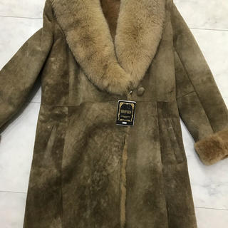 新品 羊革 ファー付き コート(ムートンコート)