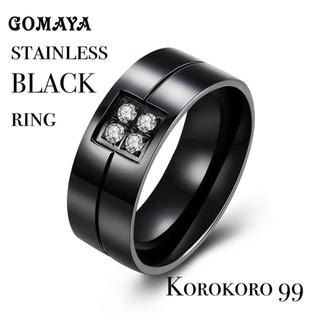 316Lステンレス ブラック リング 【22号】(リング(指輪))