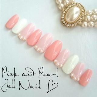 ピンク×パール♡ネイルチップ
