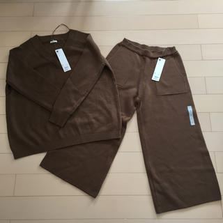 ジーユー(GU)のGU ニットガウチョ ミラノリブVネックセーター(ニット/セーター)
