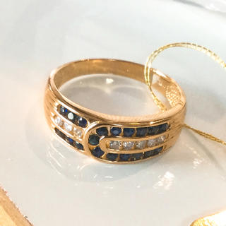 K18 サファイヤ   天然 ダイヤモンド リング(リング(指輪))