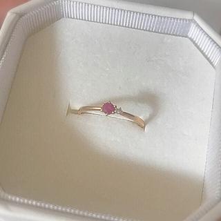 ヨンドシー(4℃)の4℃ k10PGルビー×ダイヤリング #13(リング(指輪))