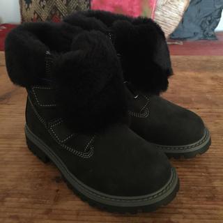 ボンポワン(Bonpoint)のzecchino d'Oro スエード ブーツ 19cm ベルクロ 子供靴 紺(ブーツ)