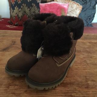 ボンポワン(Bonpoint)のzecchino d'Oro スエード ブーツ 19.5cm 茶 子供 靴(ブーツ)