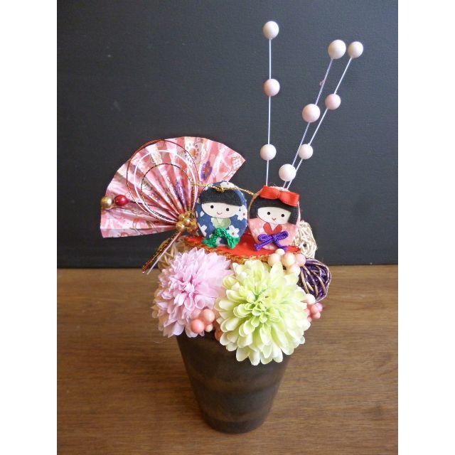 【ひな祭り】扇と餅花の桃の節句アレンジ ハンドメイドのフラワー/ガーデン(その他)の商品写真