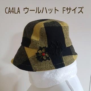カシラ(CA4LA)の美品 CA4LA カシラ ウールハット 黒黄色チェック花柄刺繍&ビジュー付フリー(ハット)