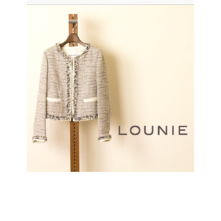 ルーニィ(LOUNIE)のLOUNIEピンクツイードジャケット(ノーカラージャケット)