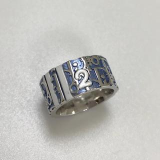 クリスチャンディオール(Christian Dior)のクリスチャンディオール CD トロッター ロゴ リング 指輪 青 2 美品(リング(指輪))