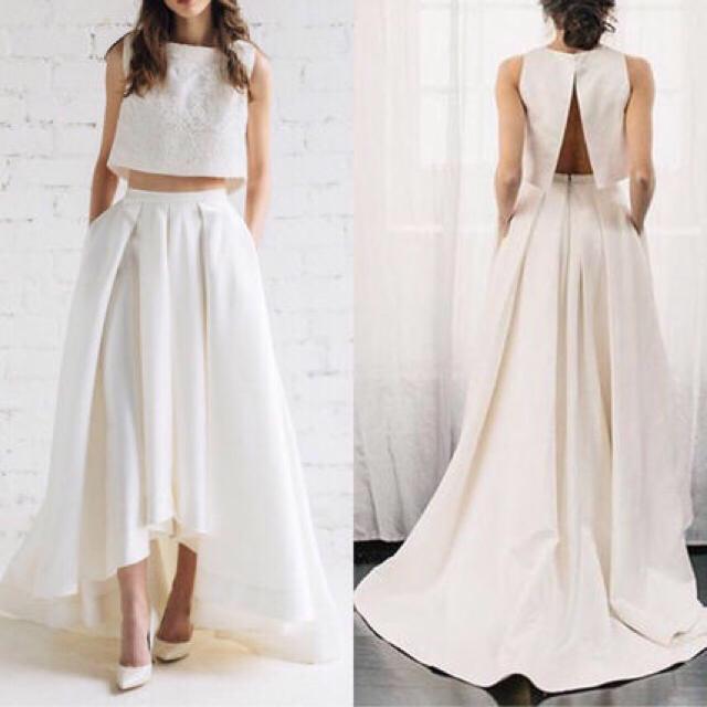 ウエディングドレス 二次会ドレス 花嫁 セパレートドレス ツーピースドレス レディースのフォーマル/ドレス(ウェディング