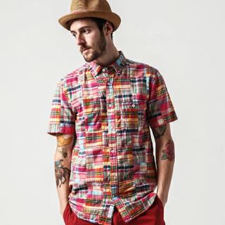 デラックス(DELUXE)の★ 新品 DELUXE CHAPMAN シャツ パッチワーク チェックシャツ ★(シャツ)