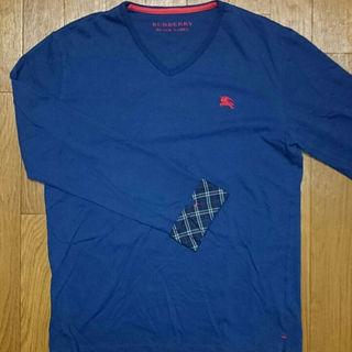 バーバリーブラックレーベル(BURBERRY BLACK LABEL)の美品 BURBERRY BLACK LABEL ロングTシャツ ネイビー×レッド(その他)