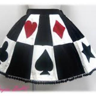 アンジェリックプリティー(Angelic Pretty)のクィーントランプスカート クロ✕シロ✕クロ(ひざ丈スカート)