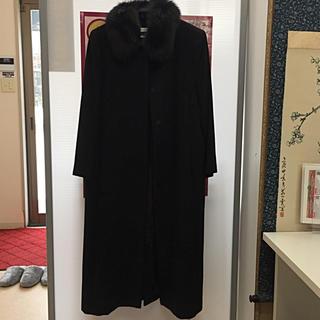 ハナエモリ(HANAE MORI)のHANAE MORI ハナエモリ  ロングコート ファー付き 黒(ロングコート)