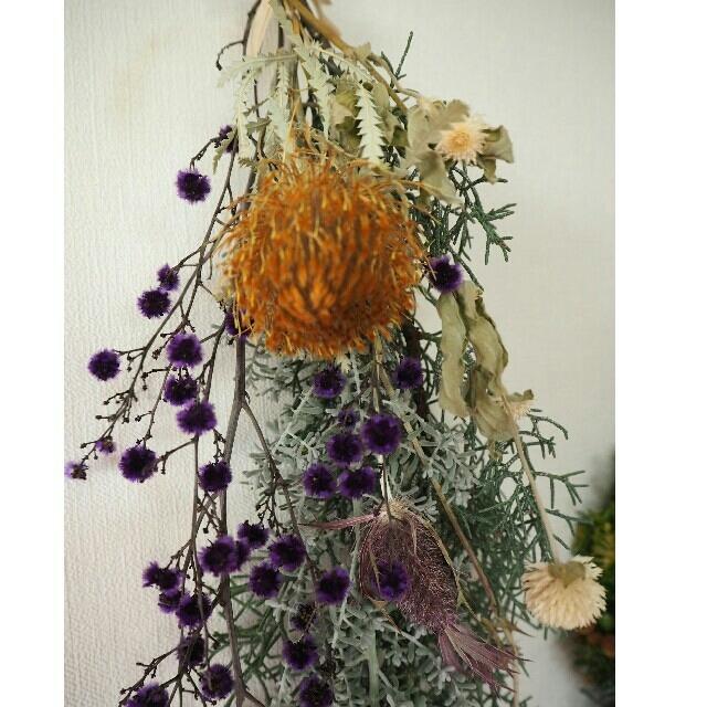 ハンドメイド 大人可愛い♡フレッシュなスワッグ ハンドメイドのフラワー/ガーデン(ドライフラワー)の商品写真