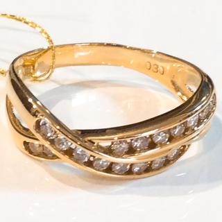 K18 天然 ダイヤモンド デザイン リング(リング(指輪))