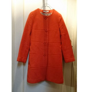 ナチュラルビューティーベーシック(NATURAL BEAUTY BASIC)のNBB アンゴラビーバーノーカラーコート サイズS  朱赤オレンジ     (ロングコート)