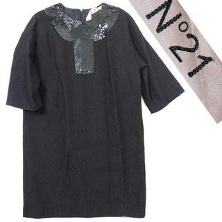 ヌメロヴェントゥーノ(N°21)の新品 N°21 スパンコール 装飾 レース ワンピース 定価181,440円 黒(ミニワンピース)