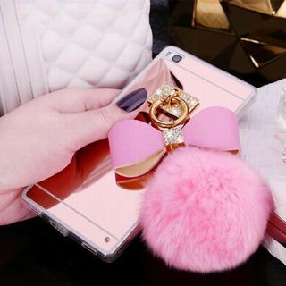 フワフワ 可愛い ボンボン❗️ミラー付 iPhone 7 8 ケース(iPhoneケース)