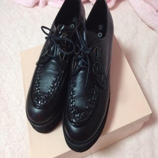 厚底ラバーシューズ💓24.0センチ(ローファー/革靴)