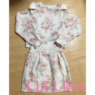 リズリサ(LIZ LISA)の花柄肩あきリボンビジューset up☆LIZ LISA(ミニワンピース)