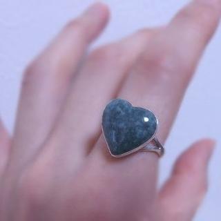 グアテマラ産 翡翠 ハートリング *9号 | 新品 | SV925 | 天然石(リング(指輪))