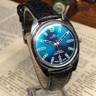 フォルティス(FORTIS)の80's Vint. FORTIS 手巻きメンズ時計 OH済 メタリックブルー(腕時計(アナログ))