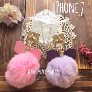 iPhone7ケース*ポンポンファー♡リボン付き♪カバー(iPhoneケース)