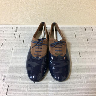 レペット(repetto)のrepetto レペット シューズ ネイビー×ブラウン 39.5 (ローファー/革靴)