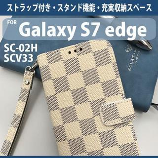 Galaxy S7edge専用 アイボリー チェック柄 手帳型 スマホケース(Androidケース)