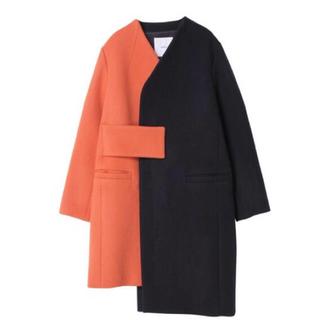 エンフォルド(ENFOLD)の新品 アンスリード バイカラーコート オレンジ×紺 38 UN3D(チェスターコート)